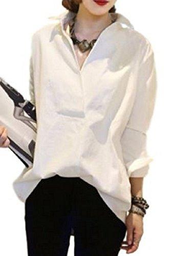 [ニブンノイチスタイル]1/2style 白 紺 シャツ 長袖 綺麗目 チュニック ワンピース レディース