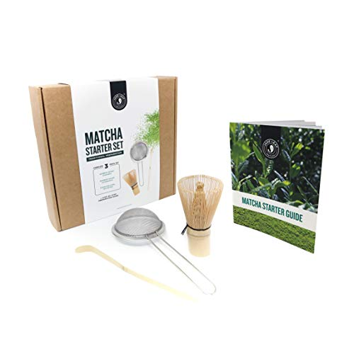 - Jade Leaf - Traditional Matcha Starter Set - Bamboo Matcha Whisk (Chasen), Bamboo Matcha Scoop (Chashaku), Stainless Steel Sifter, Preparation Guide