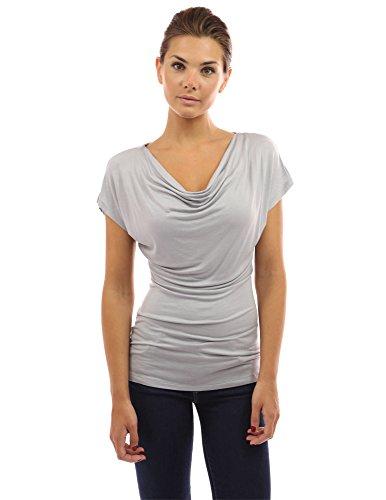 PattyBoutik Mujer cuello de la cubierta superior de manga corta gris claro