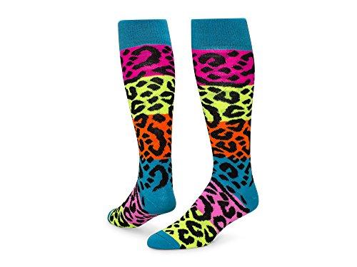 Print Knee High Socks (Red Lion Rainbow Leopard Knee High Acrylic Socks ( Multi Colored - Medium ))