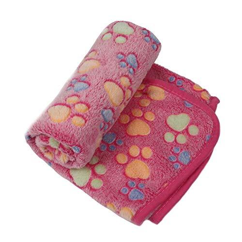 Pet Blanket Dog Cat Bed Mat Foot Print Warm Sleeping Mattress Small Medium Dogs Cats Coral Fleece Pet Supplies,Rose,S