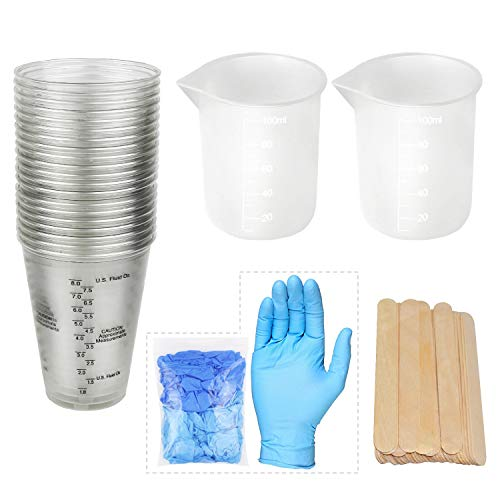 20pcs 10oz Epoxy Resin Mixing Plastic Graduated Cups 2pcs 100ml Reusable Silicone Measuring Cups with 20pcs Wood Mixing Sticks 5 Pairs Nitrile Gloves for Epoxy Resin, Paint etc ...