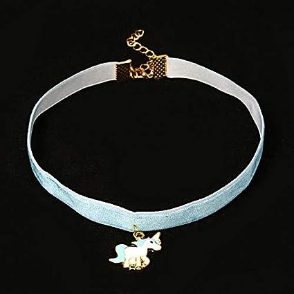 Blue Hosaire Fashion Elegant Ribbon Choker Unicorn Pendant Women Choker Colloar Plated with Rhinestones Crystal for Women Girls Christmas Party Holiday jewellry