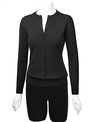 Lock and Love WSK781 Womens Keep It Classic Round Cardigan M Black by Lock and Love (Image #4)
