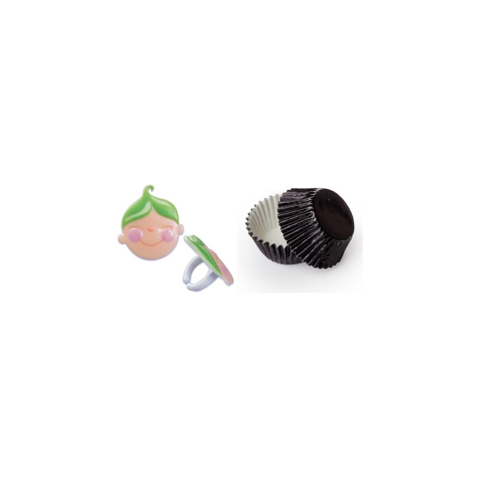Dress My Cupcake B 902SET STD FOIL BLK Standard Black Foil Liners/Green Baby Shower Peas in a Pod Face Ring Topper, Case of 72