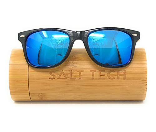 Salt Tech Bamboo Polarized Sunglasses 400 UV Mirror Reflective Colors (Blue w/Case) (Raw Eyewear)