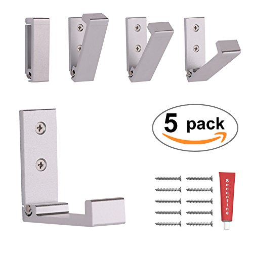 Foldable Adhesive Hooks,Heavy Duty Wall Hooks Stainless Steel Ultra Strong Waterproof Hanger for Robe, Coat, Towel, Keys, Bags, Home, Kitchen, Bathroom (Set of 5) (Silvery) by EBEYUKI