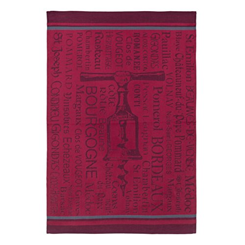 COUCKE French Cotton Jacquard Towel, Tire Bouchons Bordeaux (Corkscrew), 20-Inches by 30-Inches, Red