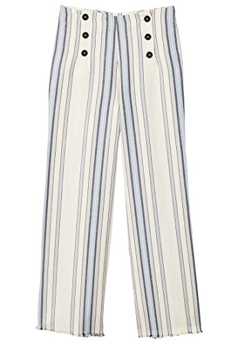 MANGO Women's Striped Linen-Blend Trousers, Sky Blue, (Striped Linen Blend Pants)
