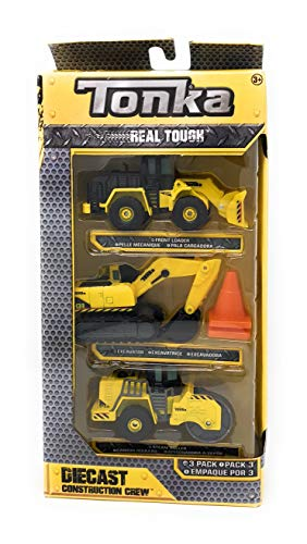 (Tonka Real Tough Diecast Construction Crew - 3 Pack (Front Loader, Excavator, and Steam Roller))