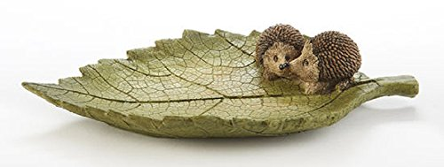 Delton Products Hedgehogs on Leaf 8.3 Inches x 1.6 Inches Resin Home Decor