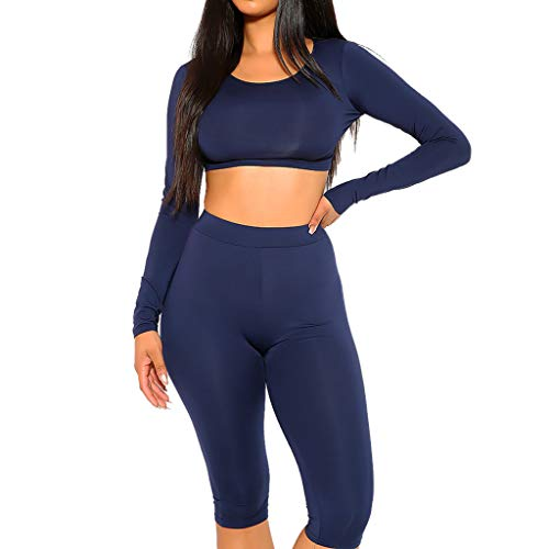 Fashion Yoga Tracksuit Women Thin Short Long Sleeve Top Seven Minute Pants Sports Casual Set Navy for $<!--$5.00-->