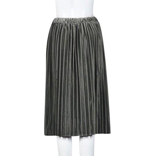 Gris Jupe Velvet De Hiver Mi Longue Cocktail Kolylong Plissée Vintage Couture Femme Sans 2017 n8wmvN0