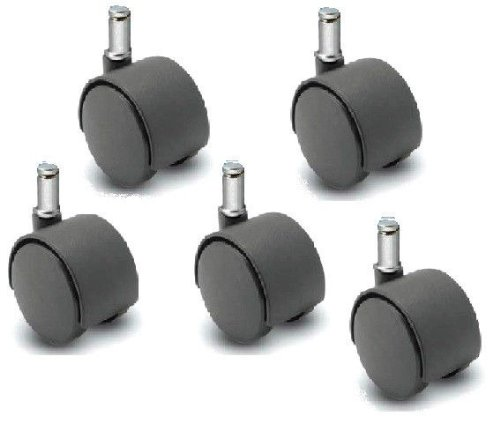 Set of 5 - 50mm Nylon Twin Wheel Chair Casters, Black, with 7/16