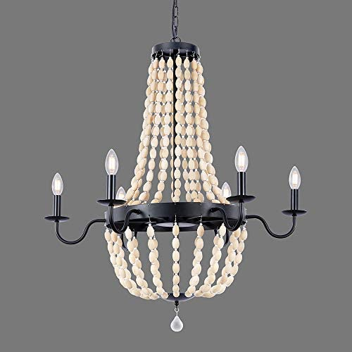 Wellmet 32 Inch Wood Beaded Chandelier