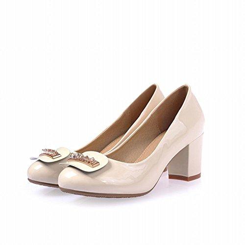 Chunky Latasa Fashion Dress Pumps Mid Casual White Shoes Off Womens Heel Rhinestones wIUSqZIr