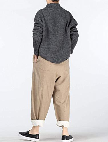 Con Pantaloni Elastico Chic Ragazza Hx Tasche Leichter Ampi Unita Harem Donna Da Cotone Due Fashion In Casual Kaffee Tinta v88x15Aq