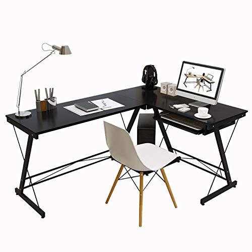 (4NM Modern L-Shaped Desk Corner Computer Desk PC Laptop Study Table Workstation Home Office Wood & Metal with Computer Case Holder (Black))