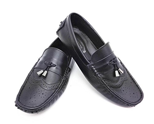 TDA Mens Comfort Breathable Perforated Leather Driving Business Loafers Boat Shoes Black n3pYOZmIF
