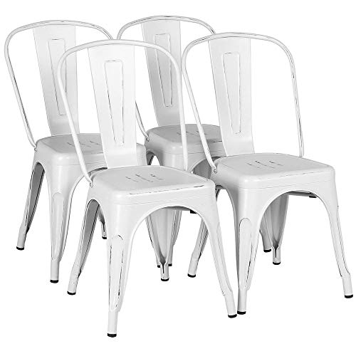 Yaheetech Metal Kitchen Dining Chairs Indoor-Outdoor Distressed Style Stackable Side Coffee Chairs in Distressed White, Set of 4