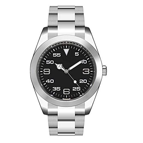 Sapphire Parnis 40mm Black Sterile Dial Stainless Steel Band Polished Bezel Automatic Movement Men's Watch (Steel Stainless Sterile)