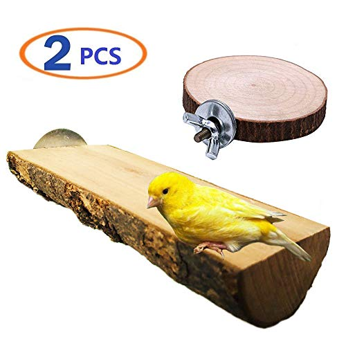 Hamiledyi Parrot Cage Perch, Wooden Platform for Birds,Pet Parrot Bird Round Wooden Coin Platform Chew Toy for Birdcage Accessories(Pack of 2) (Bird Perch)