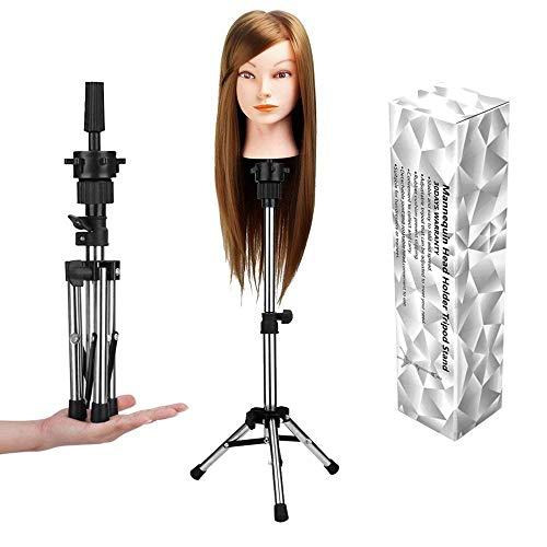 WAM Direct Mini Mannequin Head Holder Tripod Stand,Adjustable Training Doll Head Stand Mannequin Manikin Head Tripod Wig Stand