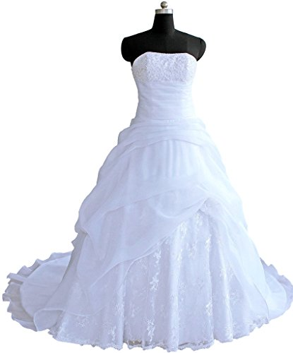 RohmBridal Strapless Ruffled Organza Wedding Dress For Bride 2016 White 18 by RohmBridal