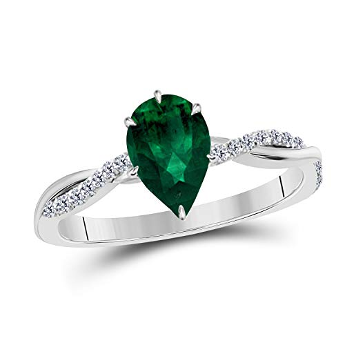 1.20 Ct Pear Shape Created Green Emerald 14K White Gold Finish Swirl Style Engagement Ring for Women's Girlfriend & Birthday Gift in ()