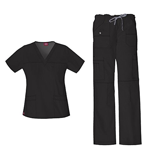 - Dickies Women's Gen Flex Junior Fit 'Youtility' Top 817455 & Low Rise Drawstring Cargo Pant 857455 Scrub Set (Black - Medium)