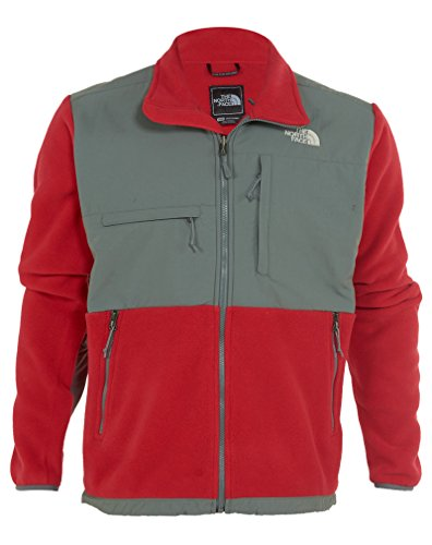 The North Face Men's Full Zip Denali Jacket, Recycled TNF Red/Sedona Sage Grey, ()