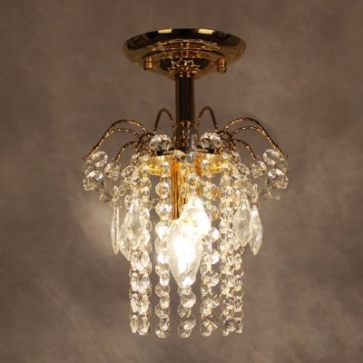 fei Splendid Semi Flush Mount Light Completed with Luxury Gold Finish and Strings of Crystal Beads