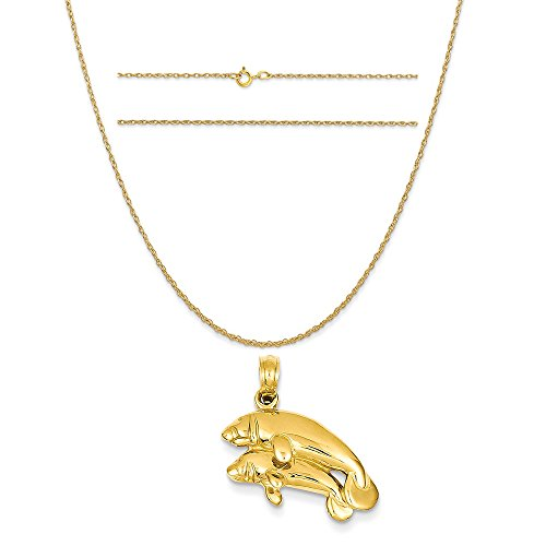 14k Yellow Gold Double Manatee Pendant on a 14K Yellow Gold Carded Rope Chain Necklace, (Yellow Gold Manatee)