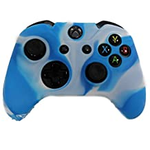 HDE Xbox One Controller Skin Protective Silicone Gel Rubber Grip Cover for Wireless Gaming Controllers (Marble Blue/White)