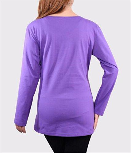 Premaman Donna Top Bluse Lunghe Maglia T Per Amangaga shirt Maniche Maglietta Collo Purple1 Moda Pregnancy Gravidanza Sciolto Rotondo q5wp1fdX