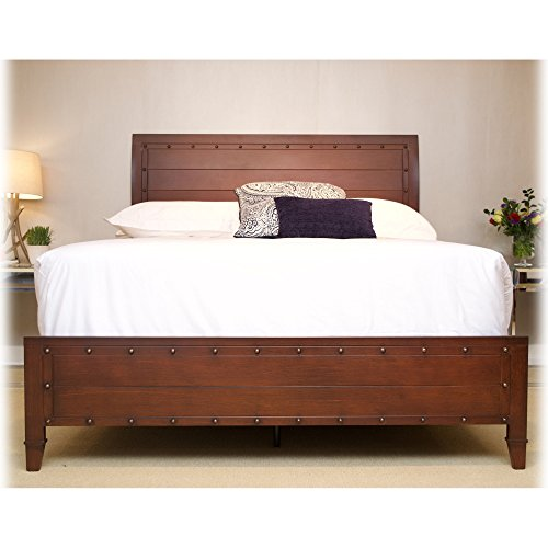 Rockland Platform Bed with Metal Sleigh Headboard and Wood Appearance Design, Brandy Finish, California King