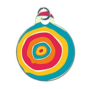 PLAYFUL COLOURFUL TREE RINGS PET Tag Dog Tags Custom Unique Image Dog Tag (one Side image) Ideal Gift for Pets