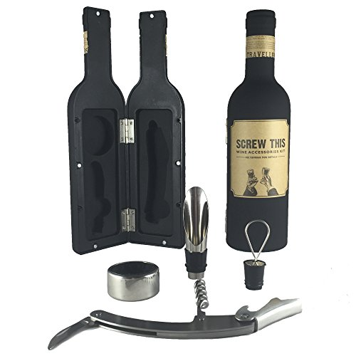 SCREW THIS Novelty Wine Accessories Kit - Bottle-Shaped Holder - Includes Cork Screw & Bottle Opener, Wine Pourer, Wine Plug and Wine Ring