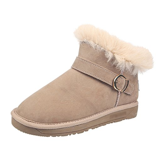 Jitong Women's Warm Faux Fur Lined Boots Comfy Flat Heel Ankle Boot Slip On Winter Short Booties Beige ISZEWReLbN
