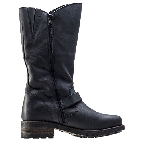 Mid amp; Calf Crest Hyde Leather Oak Womens Boots Black wZIAwq