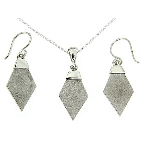 Starborn-Creations-Sterling-Silver-Gibeon-Meteorite-Pendant-and-Earring-Set