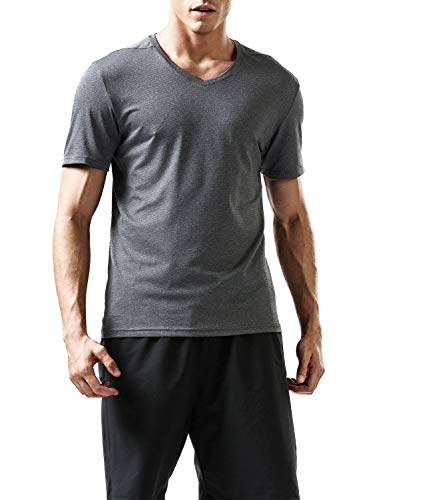 Outto Men's Base Layer Short Sleeve Performance T-Shirt V-Neck Top (Large, 128T Gray) ()