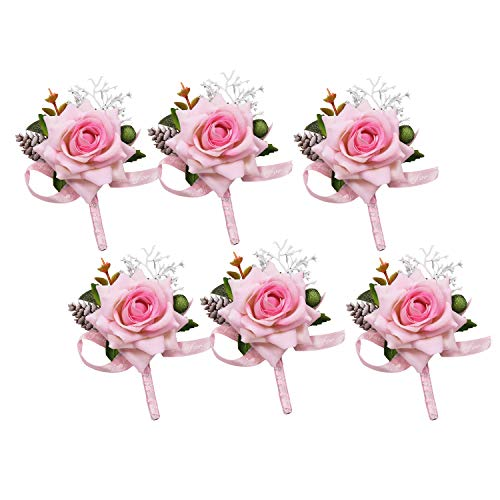 (U'Artlines Pink Rose Boutonnieres Groom Flower for Wedding Party Prom Man Suit Decoration 6pcs Set Wedding Accessories for Groom Groomsman Girl Brides Prom (Boutonniere Pink 6pcs))
