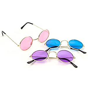 M & M Products Online Round Retro Hippie Fashion Rimless Sunglasses - 3 Pair Set Includes Blue, Purple, and Rose - Perfect Eyewear for Costumes, Parties & Gifts - Lifetime Replacement Included