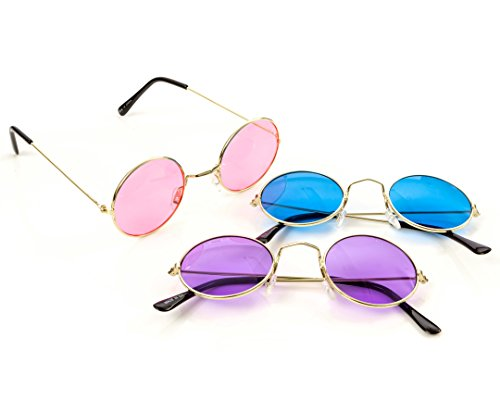 M & M Products Online Round Retro John Lennon Hippie Rimless Sunglasses - 3 Pair Set Includes Blue, Purple, and Pink - Perfect Eyewear for Costumes, Parties & Gifts - Lifetime Replacement Included ()