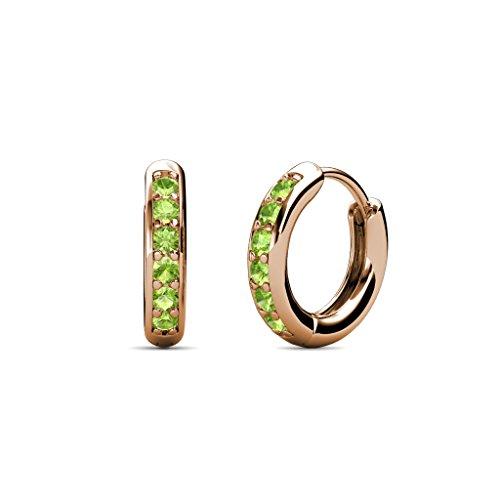 TriJewels Petite Peridot Huggies Hoop Earrings 0.25 Carat tw in 14K Rose Gold 0.25 Ct Tw Hoop