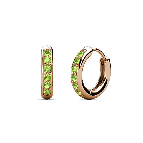 TriJewels Petite Peridot Huggies Hoop Earrings 0.25 Carat tw in 14K Rose Gold