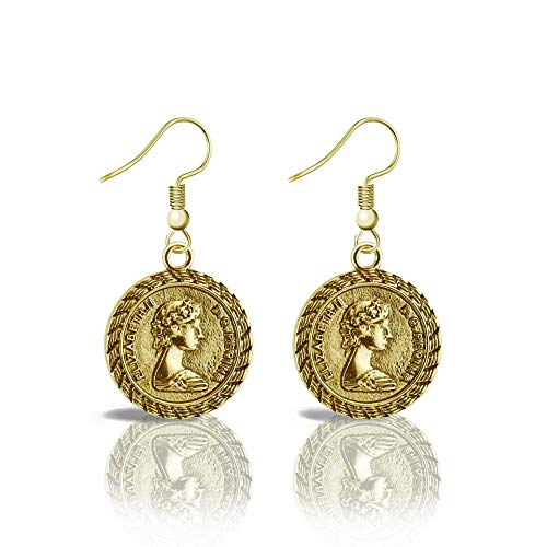 Dokreil Vintage Lucky Coin Earrings Embossed Dangle Earrings for Women Costume Jewelry Antique Silver Gold