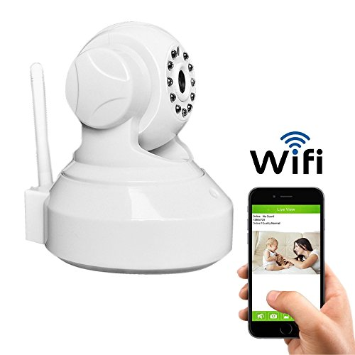 Coolcam Wireless WiFi 720P HD Pan Tilt IP Camera (Day/Night Vision,2 Way Audio, SD Card Slot, Alarm, Mobile Android/iOS/iPhone/iPad/Tablet) White by CoolCam