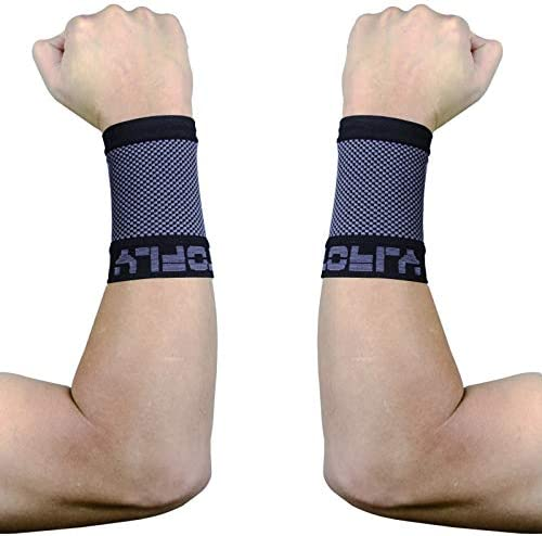 TOFLY Compression Wrist Brace Sleeves (Pair), Unisex, 20-30mmHg Medical Grade Compression Wrist Support Band for Carpal Tunnel Syndrome, RSI, Wrist Pain & Strain, Arthritis, Tendonitis, Sport, Black L